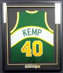 Seattle Sonics Shawn Kemp Autographed Signed Framed Green Jersey Psa/dna 83533