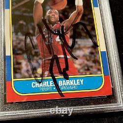 Signed 1986-87 Fleer Charles Barkley Autograph Rookie Card Psa/dna Coa Auto Rc