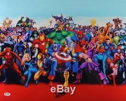 Stan Lee Signed Authentic 16X20 Marvel Comics Cast Metallic Red Photo PSA/DNA