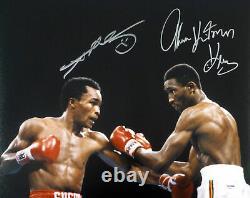 Sugar Ray Leonard & Thomas Hitman Hearns Autographed 16x20 Photo Psa/dna 86943