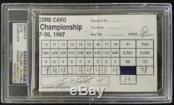 TIGER WOODS / TIM HERRON Signed Event Scorecard 1997 PSA/DNA Slabbed Auto