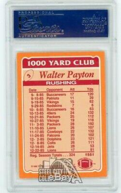 Walter Payton 1986 Topps 1000 Yard Club Autograph Auto Card #3 PSA/DNA Blue Ink