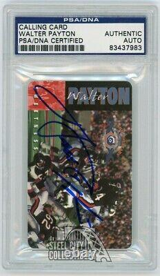 Walter Payton Autographed Calling Card PSA/DNA (Blue Ink)