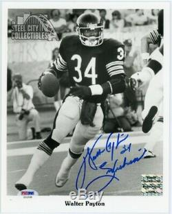 Walter Payton Sweetness Autographed Chicago Bears 8x10 Photo PSA/DNA LOA