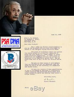 1939 Lettre Albert Einstein Signé La Deuxième Guerre Mondiale Résistance Juive Tls Autograph Psa / Adn
