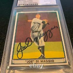 1941 Play Ball Joe Dimaggio Signé Autographié Rp Carte De Base-ball Psa Adn Coa