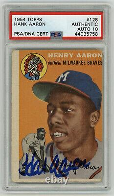 1954 Braves Hank Aaron Signe Rookie Card Topps #128 Psa/dna Auto 10 Perfect Sig