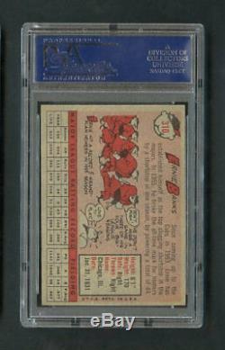1958 # 310 Ernie Topps Banques Autographié Carte Psa / Adn Certifié