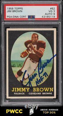 1958 Topps Football Jim Brown Rookie Rc Psa/dna 9 Auto #62 Psa 3 Vg (pwcc-a)