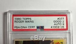1960 Roger Maris Autographié Carte # 377 Psa Topps / Adn Certifié Autograph 9