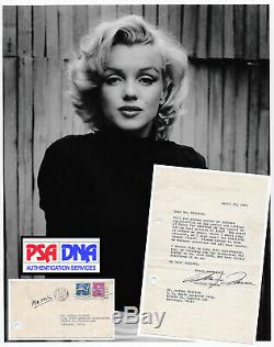 1960 Tls Monroe Marilyn Dactylographié Signé Lettre Autographe Enveloppe Withorg Psa / Adn Loa
