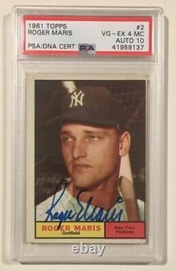 1961 Topps Roger Maris Signé Autograph Baseball Card Psa 4 MC Psa/dna 10 Yankee