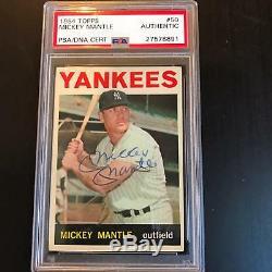 1964 Mickey Mantle # Topps 50 Signé Autographié Carte De Base-ball Psa Adn Coa