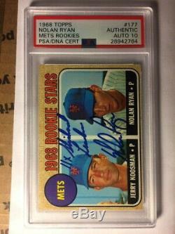 1968 Nolan Ryan # Topps 177 Rookies Autographié Signé Mets Psa Dna 10 Gem Auto