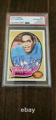 1970 Topps Signé Auto Rookie Card Oj Simpson Bills 49ers Usc Hof # 90 Psa Dna 9