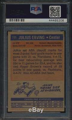 1972 # 195 Julius Topps Erving Hof Rc Autographié Psa / Adn Authentique 54489