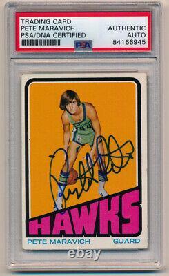 1972 Topps Pete Maravich #5 Signé Carte De Basketball Autographiée Psa Dna Pop 3