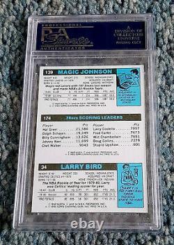1980 Topps Larry Bird Magic Johnson Rc Rookie Reprint 3x Signé Psa/dna 10 Auto