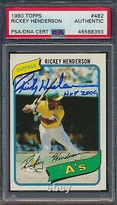 1980 Topps Rickey Henderson Hof Rc Auto/ Signé Withhof Inscription Coa Psa/dna