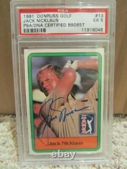 1981 Donruss Jack Nicklaus Auto Autographié Carte Rookie Signée #13 Psa/adn