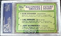 1982 Topps # 21 Cal Ripken Recrue Rc Psa / Dna Autosigné Belle Rare