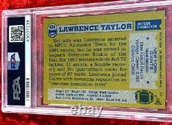1982 Topps Lawrence Taylor Rc Rookie Auto Signé Autographié #434 Psa Dna 10