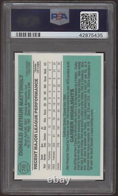 1984 Donruss #248 Don Mattingly Yankees Rc Psa/adn Authentic Auto 10