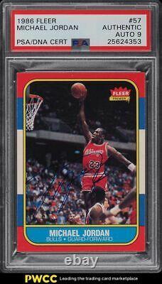 1986 Fleer Basketball Michael Jordan Recrue Rc Psa / Adn 9 Auto # 57 Psa Auth