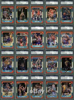 1986 Fleer Basketball Signé Ensemble Complet -144 Cartes Tous Notés 9 Ou 10! Psa / Adn