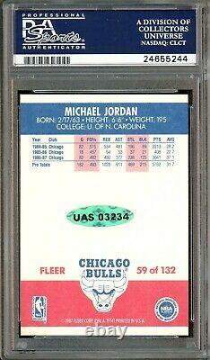 1987 Fleer Basketball #59 Michael Jordan Hof Signé Psa 8 Psa/dna 10 Auto Uda