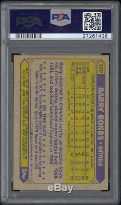 1987 Topps # 320 Barry Bonds Rc Autographié Par Psa / Adn Autrement Dit Non À La Drogue Inscription
