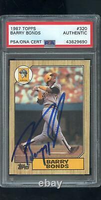 1987 Topps 320 Barry Bonds Rookie Rc Auto Signé Autograph Card Psa/dna Baseball