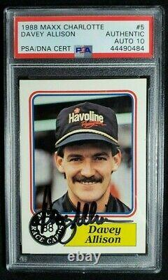 1988 Maxx #5 Davey Allison Signed Rookie Card Autograph Rc Psa/dna 10 Auto