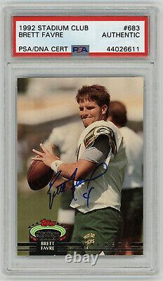 1992 Emballeurs Brett Favre Signé Rookie Carte Topps Stadium Club # 683 Psa / Adn Auto