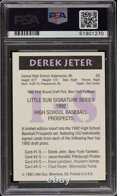 1992 Little Sun High School Derek Jeter Rookie Rc Psa/dna Auto Psa 9 Mint