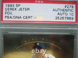 1993 Sp Derek Jeter Foil Rookie Autosigné Rc Autograph Psa / Dna 10