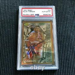 1996/97 Topps Finest #69 Allen Iverson Rookie Psa/dna Auto/autographe 76ers