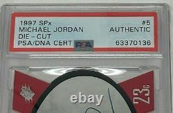 1997 Spx Michael Jordan Super Deck Card 5 Adn De Psa Signé Autographed Die Cut Uda