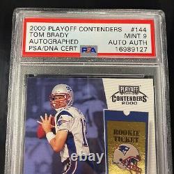 2000 Playoff Contenders Rookie Ticket #144 Tom Brady Rc Auto Psa 9 Mint Psa/adn