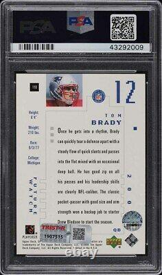 2000 Sp Authentique Tom Brady Recrue Rc Psa / Dna Auto 10/1250 Psa 10 Gem Mint