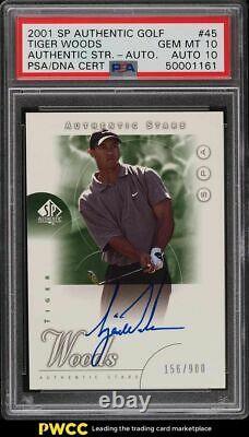 2001 Sp Authentic Golf Tiger Woods Rookie Rc Psa/dna 10 Auto #45 Psa 10 Gem Mint