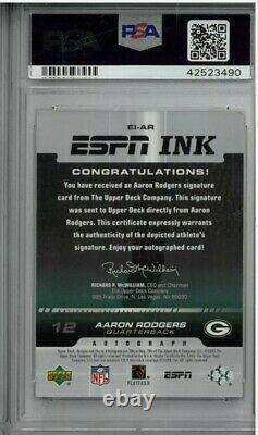 2005 Upper Deck Aaron Rodgers Espn Encre 1/1 Classé Psa / Adn Authentique Rookie Rc