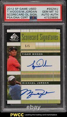 2012 Sp Game Used Scorecard Tiger Woods Michael Jordan Psa/dna Auto Psa 10