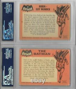 Adam West - Burt Ward Signé 1966 Topps Batman Card Set Black Tv Show Psa/dna