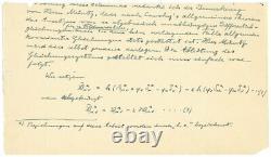 Albert Einstein Théorie De Terrain Unie Manuscrit Caa(psa/adn) Rr Enchère