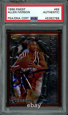 Allen Iverson Autographié 1996 Rookie Card Finest Topps # 69 Les 76ers Psa / Adn 177598