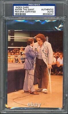 André The Giant Authentic Signé 3.5x4.75 Photo Autographié Psa/adn Slabbed