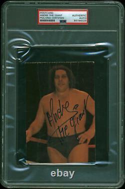 Andre The Giant Authentic Signé 3.5x5.5 Carte Postale Autographiée Psa/dna Dalle