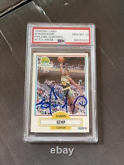 Autographié Shawn Kemp Signé 1990 Fleer Rookie Card Psa/adn Auto Gem Mint 10