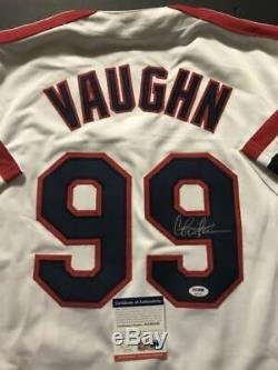 Autographié / Signé Charlie Sheen Wild Thing Maillot Ricky Vaughn Psa / Dna Coa Auto